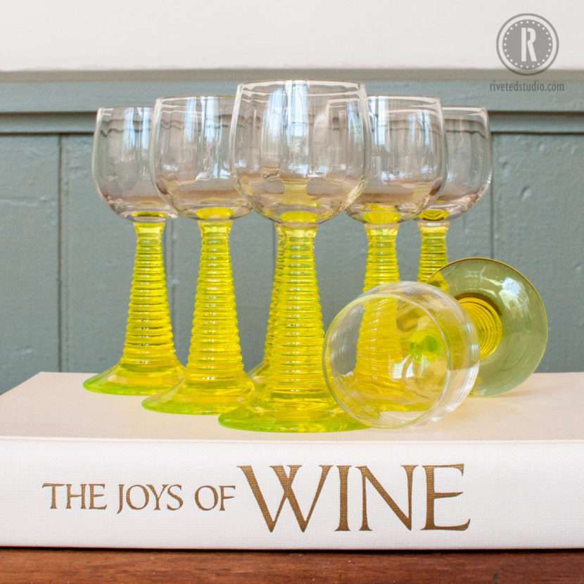 vaseline uranium wine glass Bryce Bros Ringmont