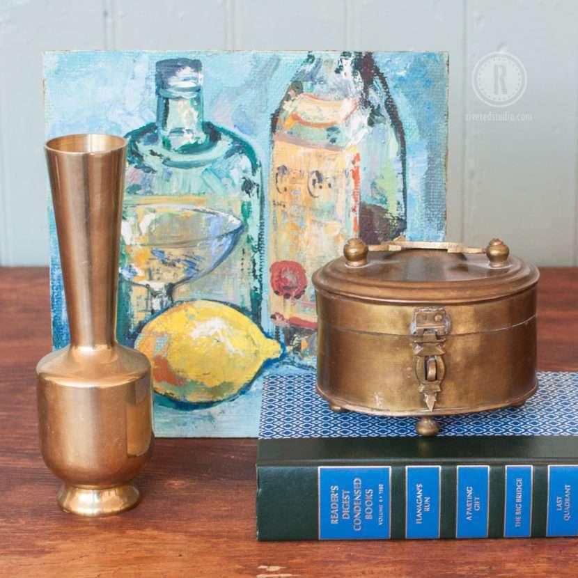 modern brass bud vase in martini vignette