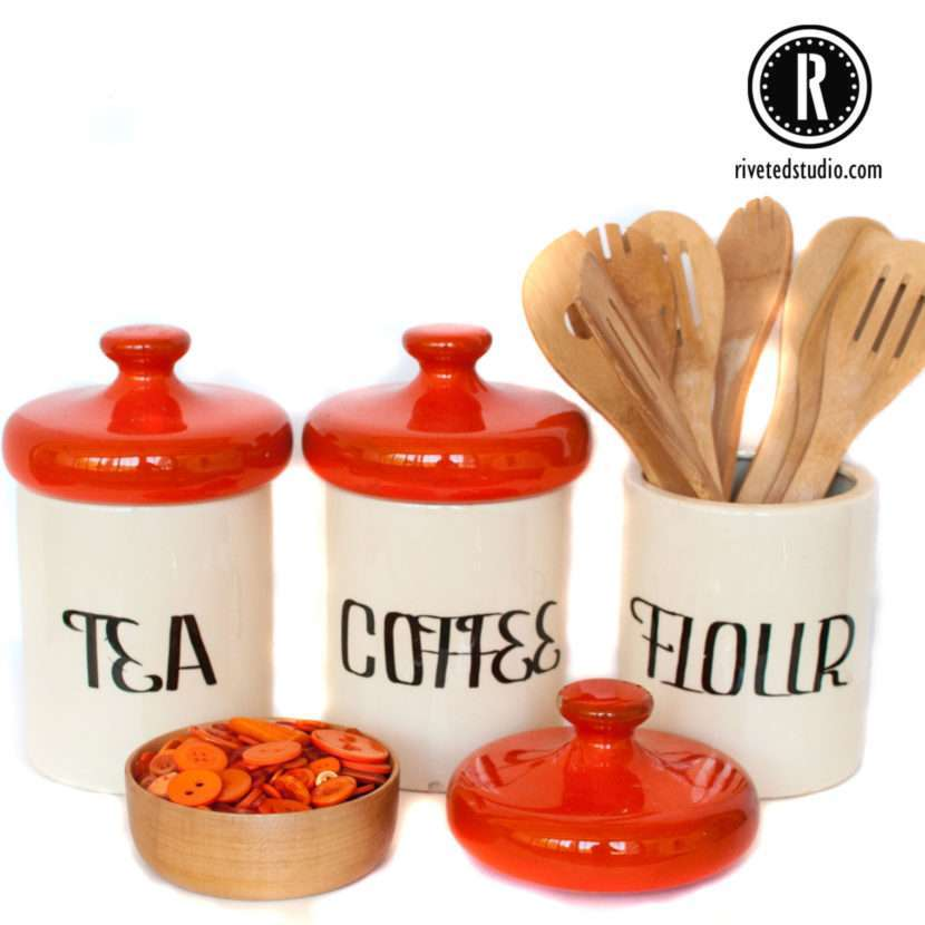 Orange top canister set from Holiday Designs