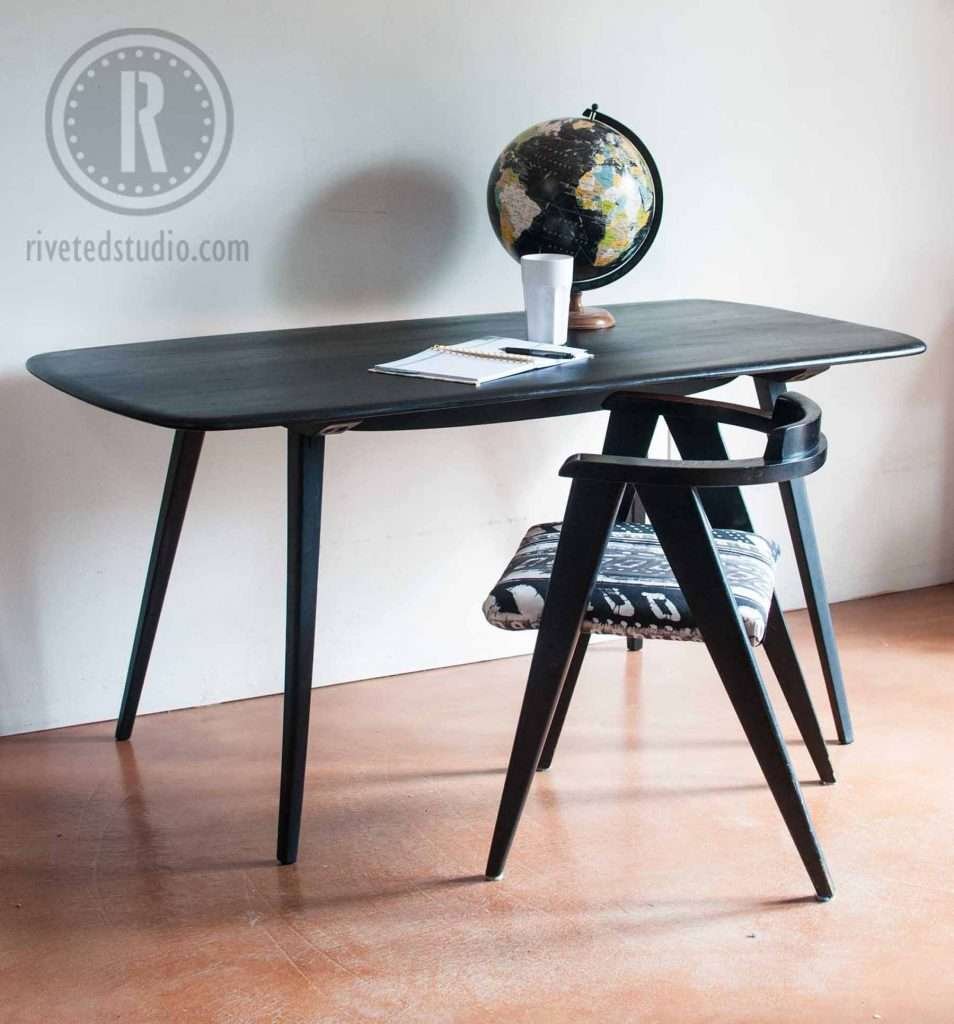 mcm surfboard table milk paint old fashioned milk paint pitch black on surfboard table