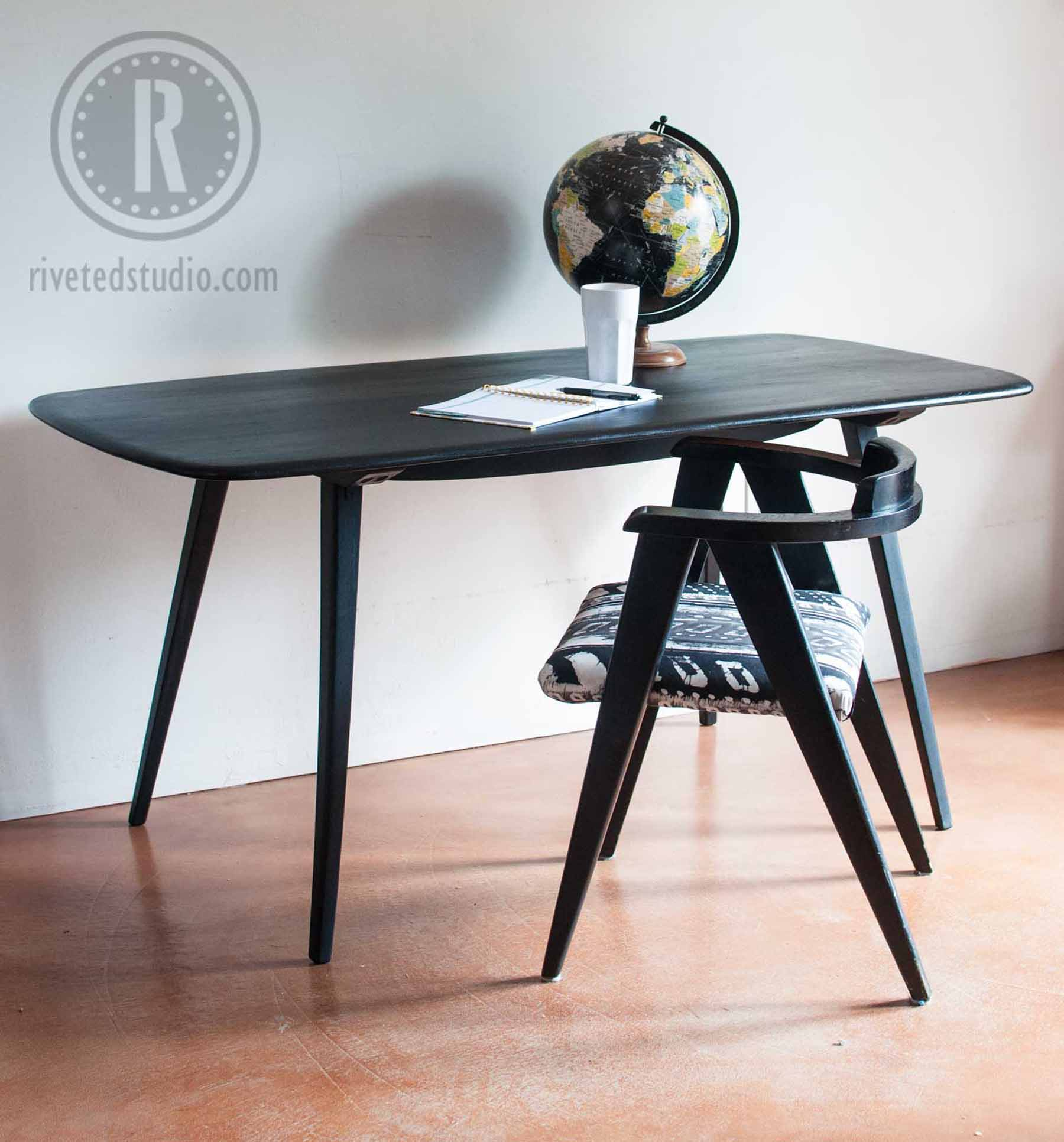 MCM Surfboard Table with Milk Paint Finish
