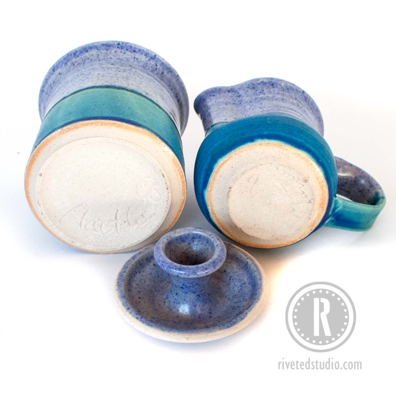 periwinkle and turquoise creamer sugar bottom