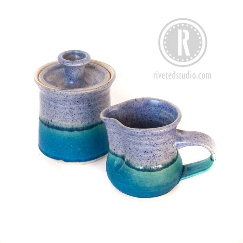 periwinkle and turquoise creamer sugar