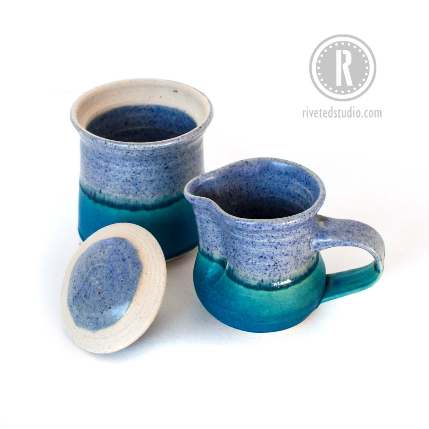 periwinkle and turquoise creamer sugar lid off