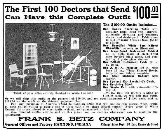 vintage ad for Betz medical suite
