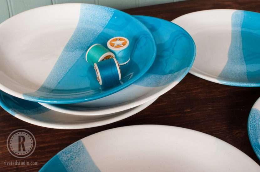 handmade ombre blue plates