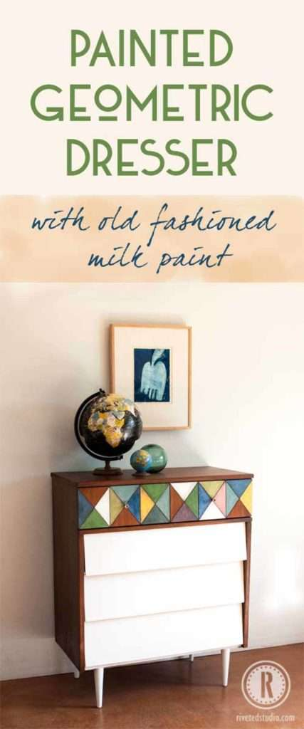 Painted MCM Geometric dresser with OFMP for pinterest