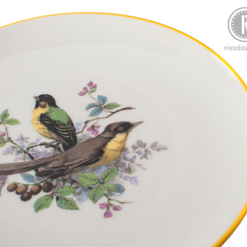 yellow green bird plate