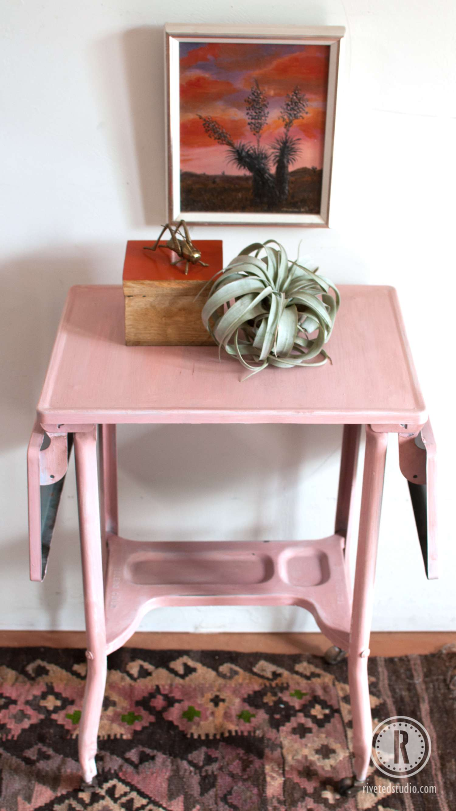 Metal Milk Painted Cart in Pink