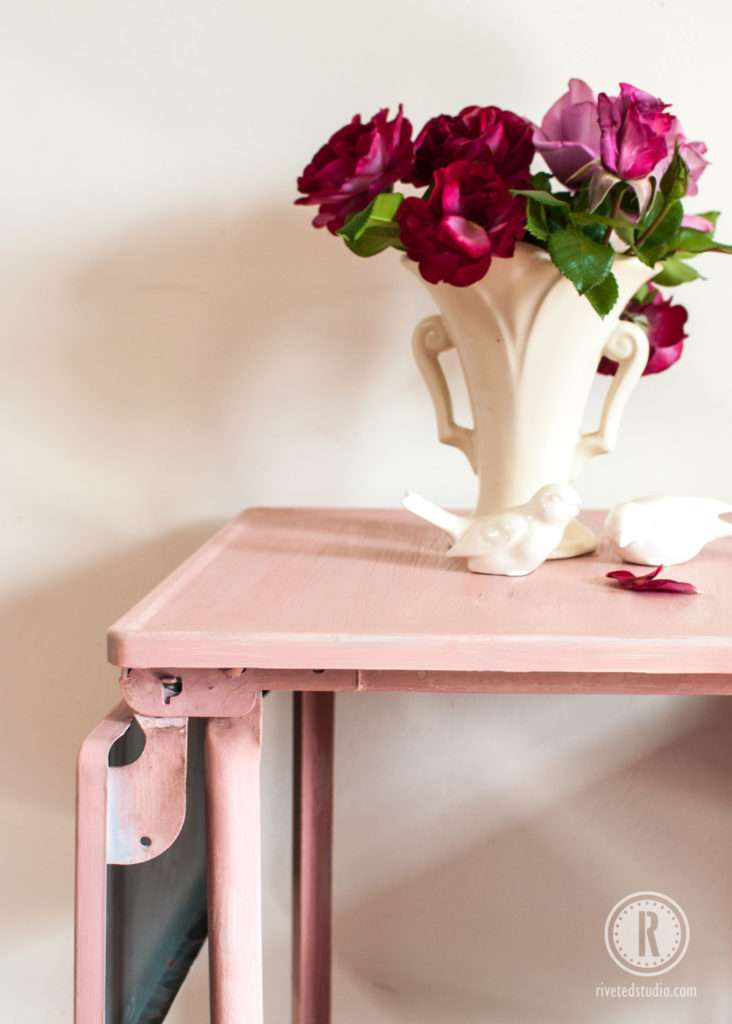 metal milk painted pink roses and birdies and vintage matte glaze vase