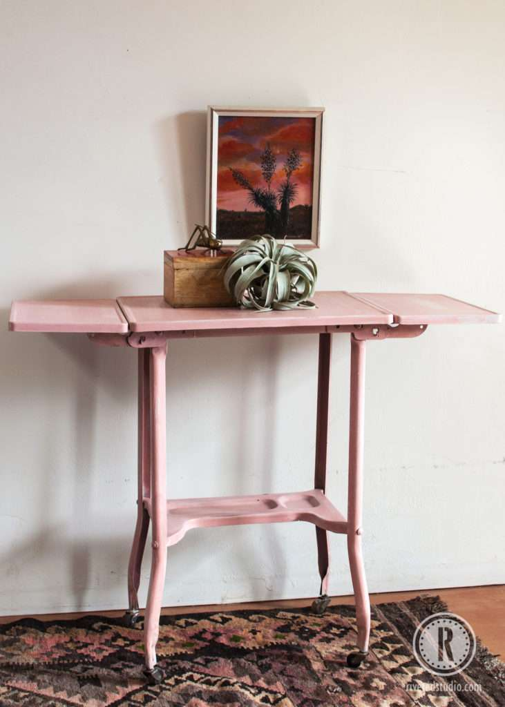 metal milk painted pink sunset tillandasia and kilim