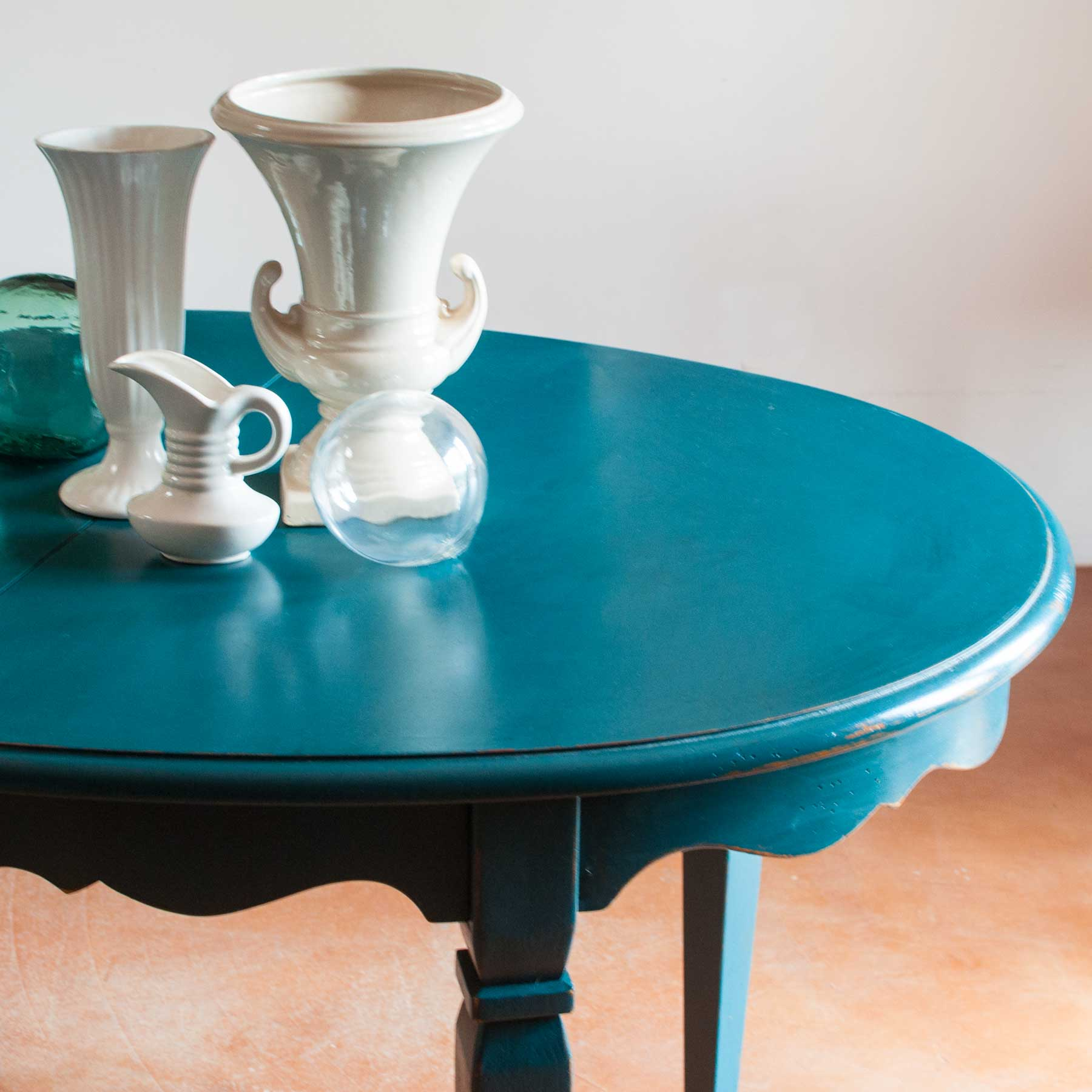 Turquoise Beaupre Drexel Table Riveted